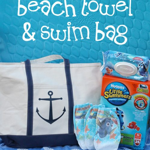 DIY Beach Towel and Swim Bag with Huggies® Little Swimmers® #SwimAdventureContest #CB #ad | Ellie And Addie