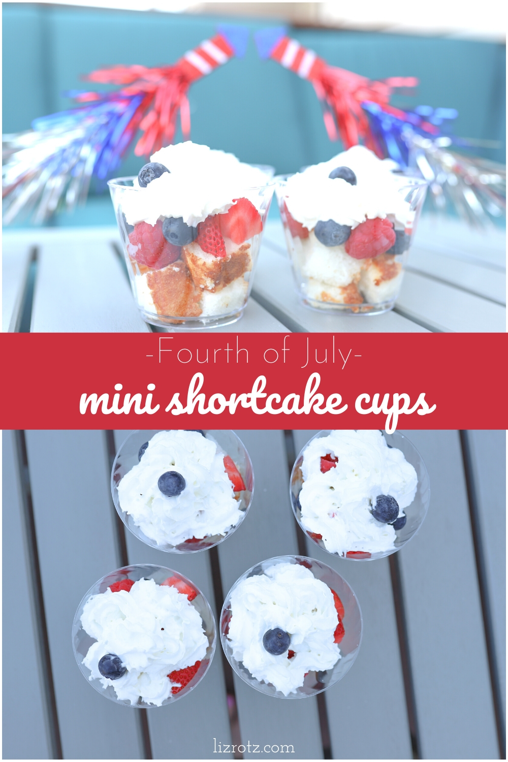 Fourth of July Mini Shortcake Cups - the perfect red, white, and blue dessert for any holiday! Individually packaged and perfect for a party!