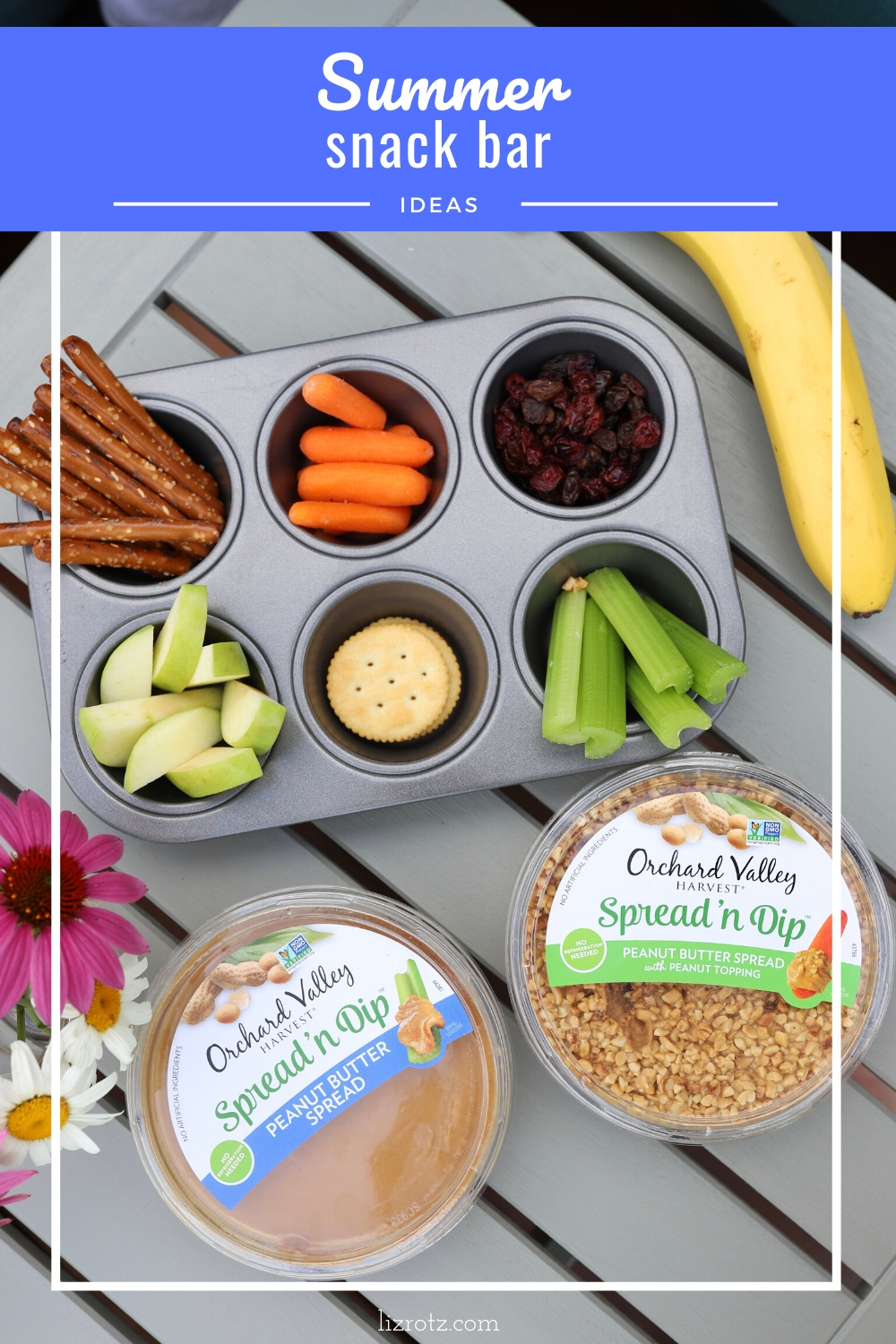"Summer Snack Bar - how to beat the ""mom I need a snack"" every ten minutes with this fun grazing snack bar!"
