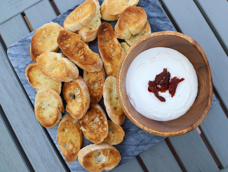 Whipped Feta Dip Recipe - the perfect summer dip made with Greek yogurt and feta!